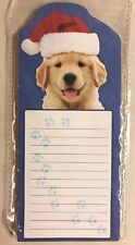 Christmas Golden Retriever Dog Yellow Lab Puppy Magnetic Note Pad Gift New