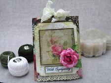 Handmade Greeting Card Sympathy 3-D Pocket Gems Pink Rose Unforgetable Quality
