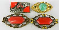 ART DECO CZECH SET OF 4 RED & GREEN ART GLASS FILIGREE & ENAMEL BROOCH PINS