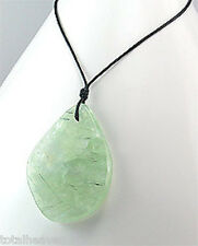 GORGEOUS Green Jade Teardrop Necklace Choker Retail $70 Cotton Thread