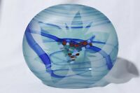 Borowski Glass Studio Germany Etched Blue Vase