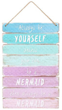 Always Be a Mermaid Ombre Wooden Sign Plaque Kids Room Mythical 30 X 20cm