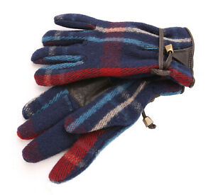 Polo Ralph Lauren Blue Plaid Wool Leather Insulated Winter Gloves S/M New