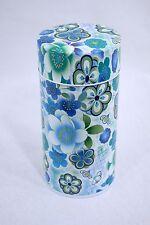茶収納箱 Chashuunoubako - Boite à thé métal - Fleurs bleues - Made in Japan