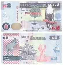 Zambia 2 Kwacha 2012 P-49a Banknotes UNC