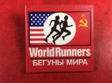 Old Vintage PIN BADGE USSR USA WORLD RUNNERS . Metal VERY RARE !!