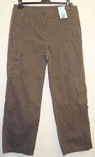 Pantaloni da donna lunghezza regolabile 3/4 arrotolare con bottoni nuova con etichetta, taglia 14, Cachi