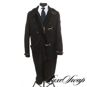 #1 MENSWEAR Polo Ralph Lauren Black Suede Shearling Fur Hook Buckle Long Coat M