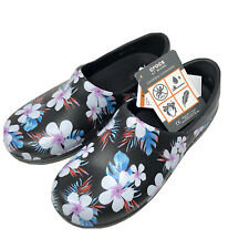 Crocs NERIA PRO II Graphic Size 7 Black Tropical Floral Clogs At Work Shoes NWT