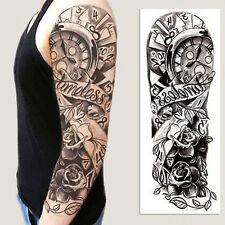 Full Arm Flower Rose Clocks Tribal Tattoo Temporary Stickers Body Art 3D Tattoo
