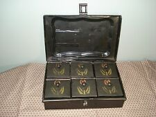 Vintage Metal Spice Lock Box w/ 6 Stenciled Toleware Spice Tin Boxes