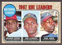 1968 Topps Baseball #3 NL RBI Leaders Hank Aaron / Roberto Clemente - SBID006