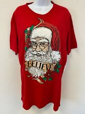 NWT Holiday Time Christmas Tee L Red Short Sleeve Crew Neck Santa Face Believe