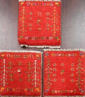 Pair of 3 Tribal Authentic Gabbeh Plush Wool Area Rug Hand-knotted Oriental 1x1