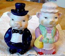 VINTAGE PORCELAIN BISQUE HAND-PAINTED MR. & MRS. PIG BELLS - ESTATE FIND!
