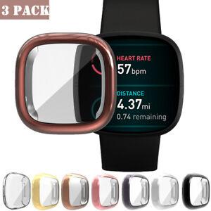 3 Pack Screen Protector Case Cover for Fitbit Versa 3 /Sense Case Bumper Cover