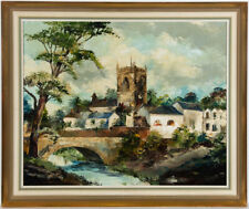 More details for arnold taylor - 1970 oil, village scene with church