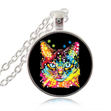 Kitty Cat Kitten Design Cabochon Glass Tibet Silver Chain Pendant Necklace