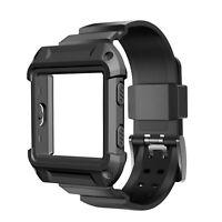 Schwarzer Rüstungsersatz, großes Armband, Uhrenarmband + Rahmen für FITBIT BLAZE