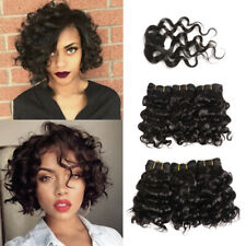 8'' Short 6 bundles +1 Closure Curly Wave 100% Virgin Human hair Extensions 220g