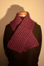 Hand Knit Short Farrow Rib Scarf in Purple Hand Knitted