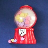 Hallmark PIN Valentines Vintage GUMBALL MACHINE Candy HEARTS Holiday Brooch