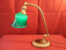 1920s EMERALITE ART DECO DOUBLE KNUCKLE DESK LAMP W/ GLASS SHADE