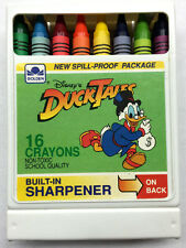 Vintage Duck Tales 16 Crayons w/Built-In Sharpener Disney/Golden Books NES RARE