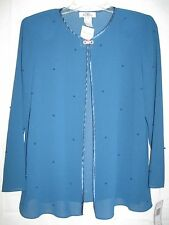 Patra Petite Womens Blouse Shirt Size 6P Teal Blue Beaded Shear New with Tag