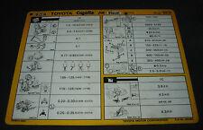 Inspektionsblatt Toyota Corolla Diesel FR CE 70 Werkstatt Service Blatt 08/1983!