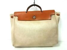 Auth HERMES Her Bag PM Ivory Brown Toile H Box Calf Square C Handbag