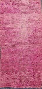 Antique Contemporary Moroccan Oriental Area Rug Hand-knotted Plush Wool Pink 4x8