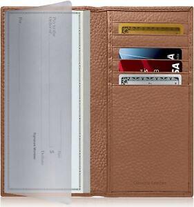 New Genuine Leather Checkbook Cover Card Holder Wallet Unisex RFID Blocking