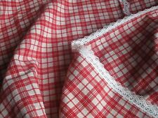 ANTIQUE FRENCH LINEN TABLECLOTH - Red and White Kelsch - White Lace - Alsace
