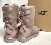 UGG Australia BAILEY BOW II METALLIC DUSK COLOR SUEDE SHEEPSKIN BOOTS 1019034