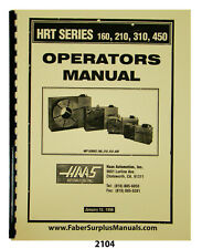 Haas HRT Series 160, 210, 310, 450 Rotary Table Op & Part Manual #2104