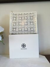 Tory Burch White Patent LEATHER LACE Cosmetic cut out fretwork Bag CASE pouch