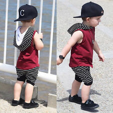 Toddler Kids Baby Boy Hooded Vest Tops Shirt+Short Pants 2PCS Outfit Clothes Set