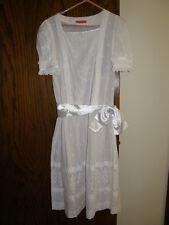 3001) Vntg Halston III White 100% Cotton Eyelet SS Dress Drop Waist Satin Sash