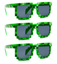 3 PAIRS GREEN wholesale 8-Bit Pixel Gamer Geek Costume Sunglasses glasses