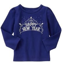 NWT Toddler Girls Gymboree HAPPY NEW YEAR Shirt 2T Navy Blue Sparkle Long Sleeve
