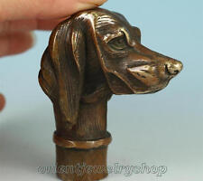 Collectable Old bronze handwork carved lucky dog statue walking stick cane head