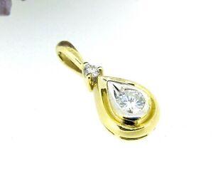 .24 ctw Diamonds Round Cut 14k Yellow & White Gold Teardrop Pendant