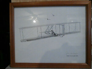 S.J. DeMarco Pencil Drawing Wright No 3 Glider 1902 Signed Framed Aviation 1976