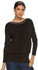NEW $64 WOMENS JENNIFER LOPEZ CHAIN CREW NECK BLACK RIBBED SWEATER SIZE XL