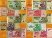 10 Zimbabwe Banknotes 10 Trillion 100 Million 50 Billion 20 Dollars Currency Set