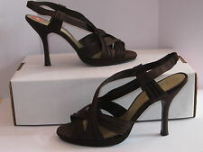 Jacqueline Ferrar Strappy Satin Pumps/Sandals Women's Shoes Size 6M Brown