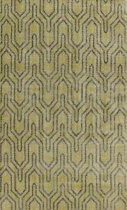 Green Trellis Oushak Oriental Area Rug Vintage Style Handmade Wool Carpet 6x9 ft