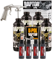 U-POL Raptor Tintable Dakota Brown Bed Liner  w/ Spray Gun, 4 Liters Upol