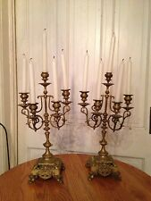Pair of Beautiful Antique Brass Candelabras
